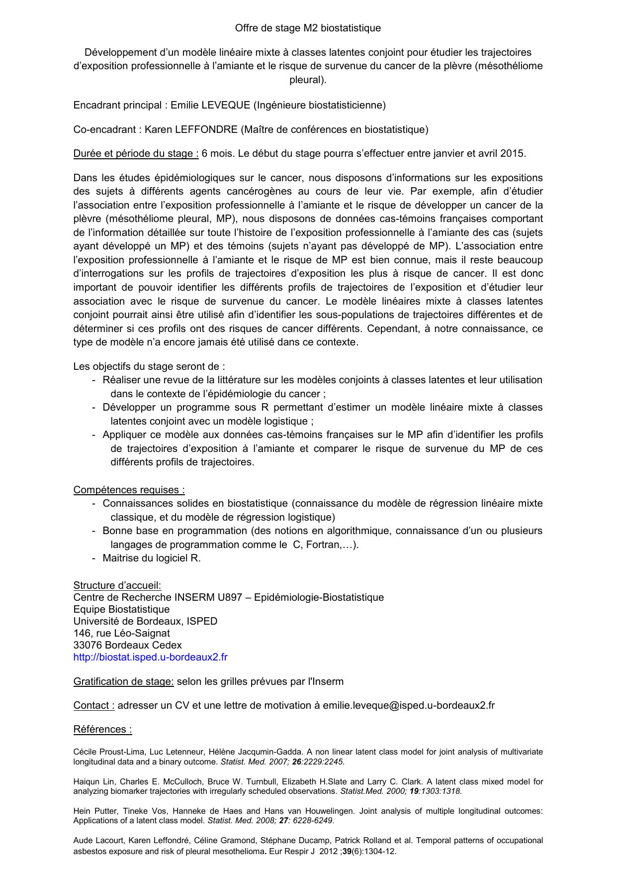 Offre De Stage M2 Biostatistique Developpement D Un Modele