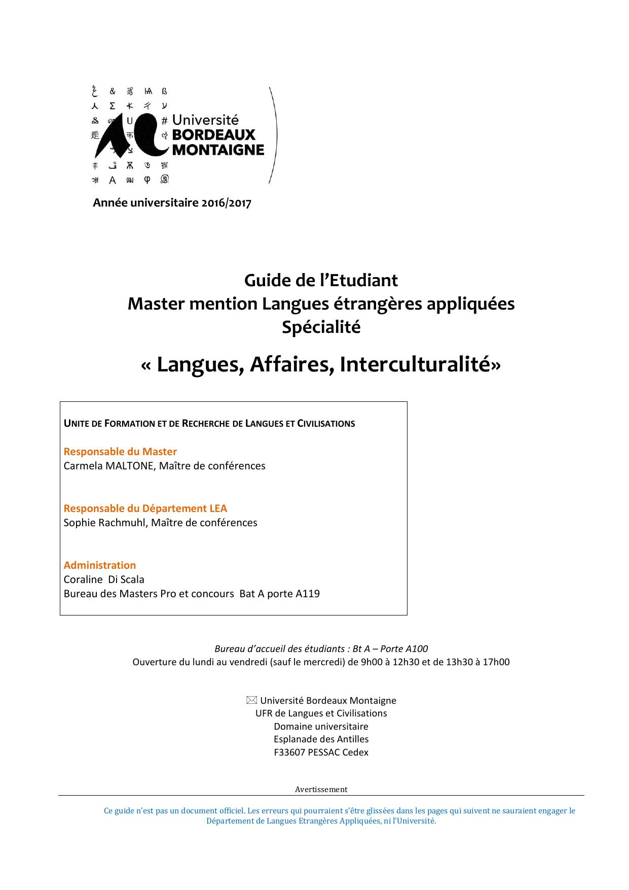 Calendrier Examens Bordeaux Montaigne.Guide Master Lai 2016 2017 Universite Bordeaux Montaigne