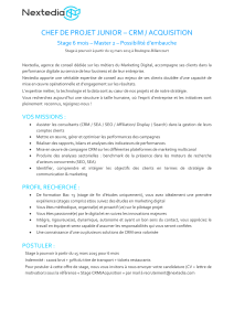 chef de projet junior – crm / acquisition