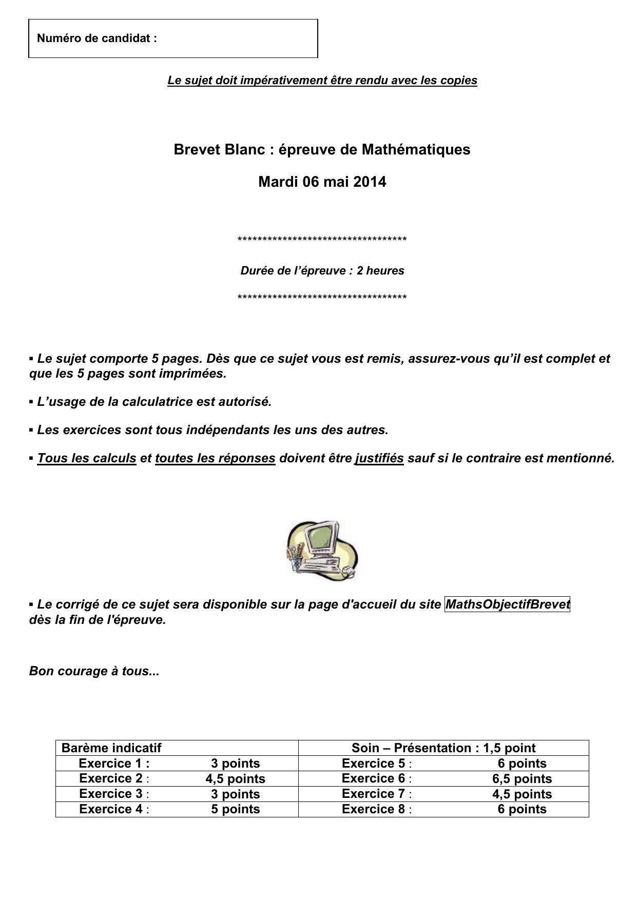Brevet Blanc Epreuve De Mathematiques Mardi 06 Mai 2014