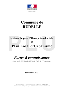 Commune de RUDELLE Plan Local d`Urbanisme Porter à