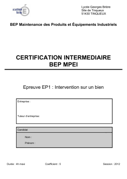 certification intermediaire bep mpei