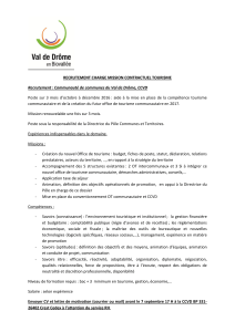 RECRUTEMENT CHARGE MISSION CONTRACTUEL TOURISME