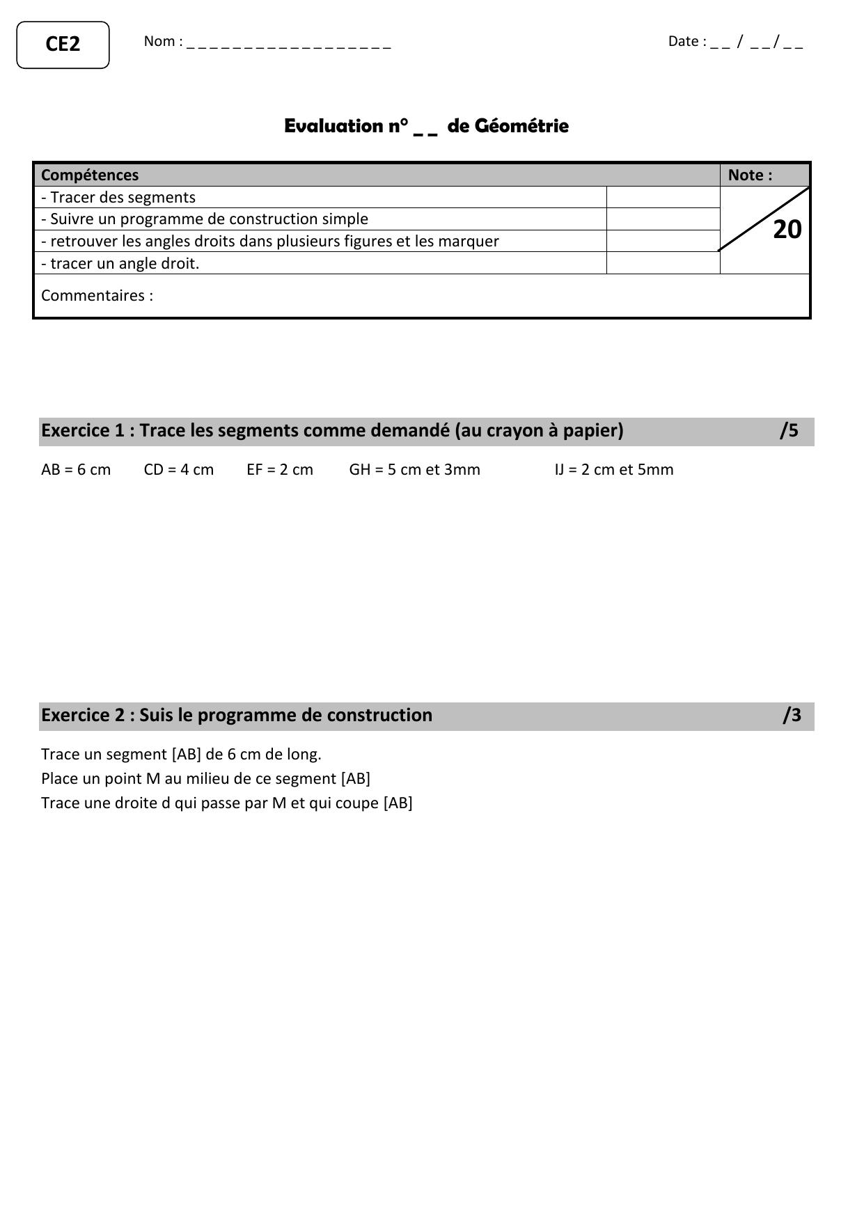 Evaluation N De Geometrie Exercice 1 Trace Les
