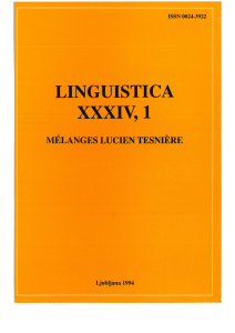 linguistica - Journals of Faculty of Arts, University of Ljubljana