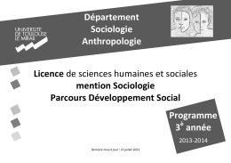 DEPARTEMENT DE SOCIOLOGIE et ANTHROPOLOGIE