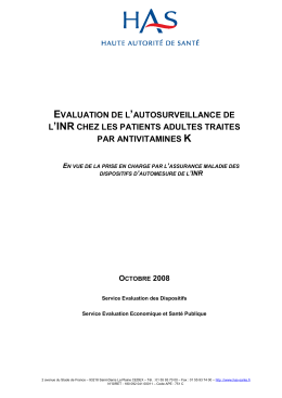 Evaluation de l`autosurveillance de l`INR chez les patients