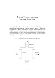 T. D. de Thermodynamique Machine frigorifique