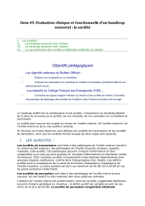 Item 49. Evaluation clinique et fonctionnelle d`un handicap sensoriel