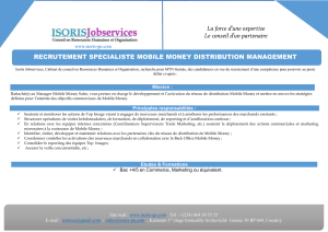 RECRUTEMENT SPECIALISTE MOBILE MONEY DISTRIBUTION