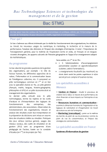 Bac Technologique STMG - Centre d`Information de l`Education