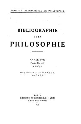 1947-1 - Institut International de Philosophie