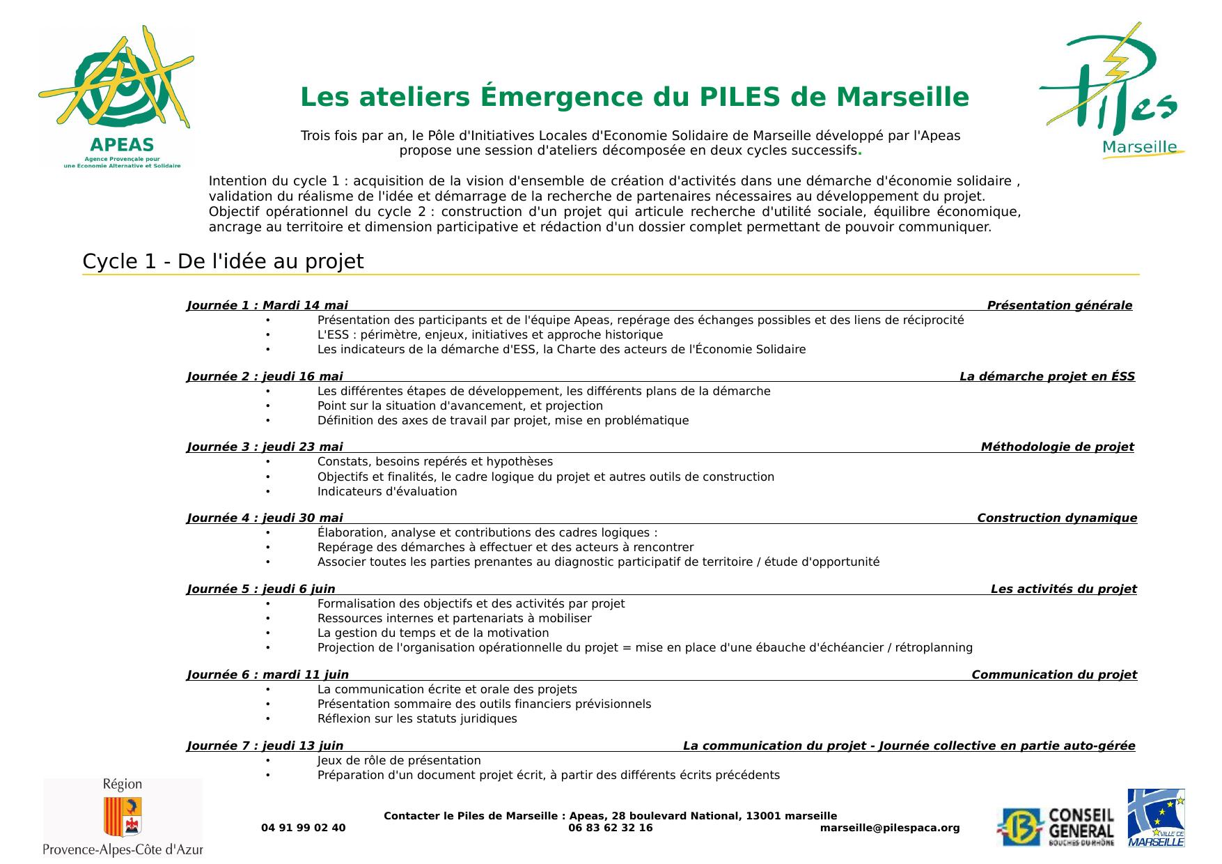 Initiatives Calendrier.Calendrier Du Cycle D Ateliers Du 23 Mai Au 11 Juillet 2013