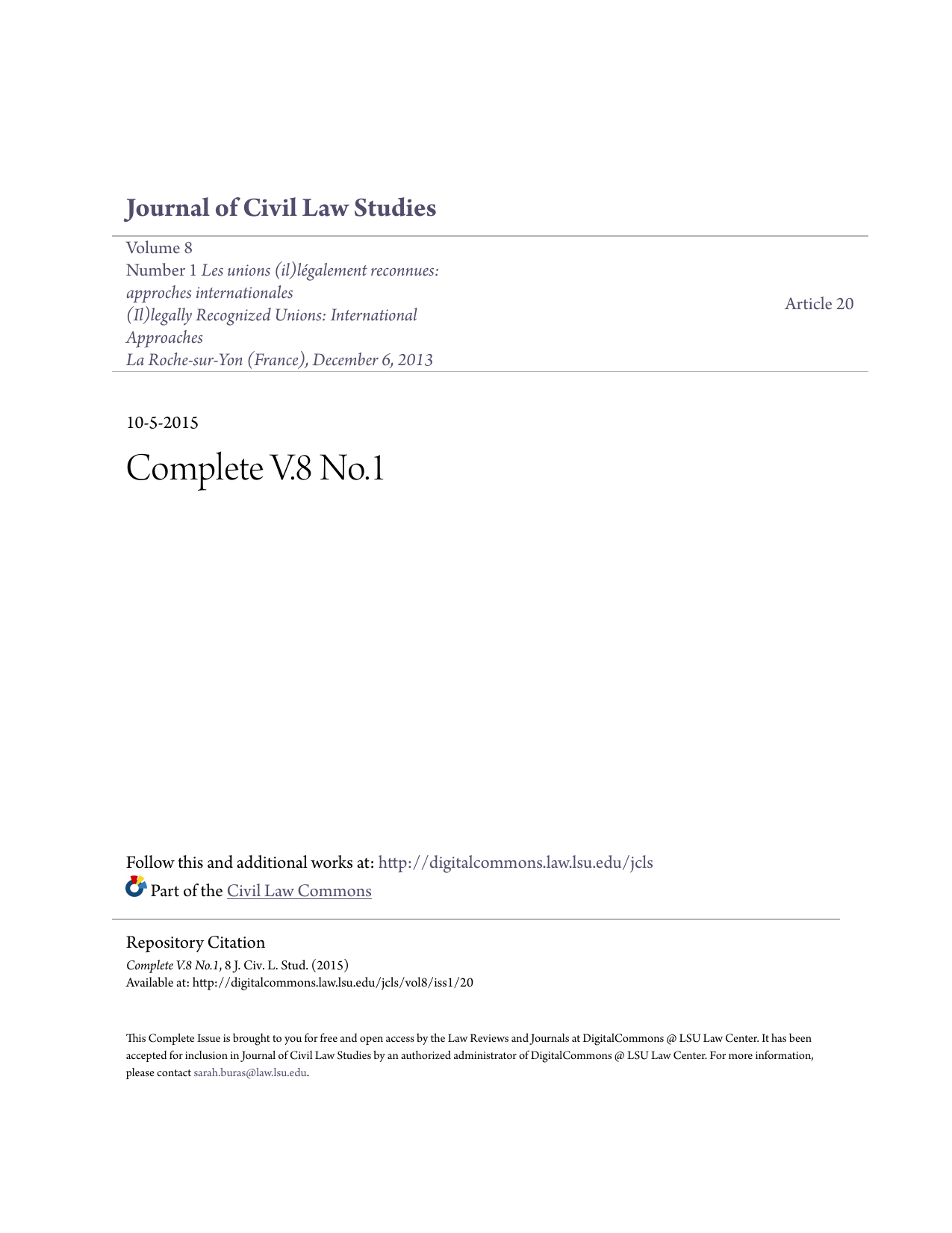 Complete V 8 No 1 - DigitalCommons @ LSU Law Center