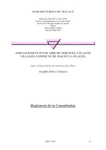 Article 2 : Conditions de la consultation - Marches