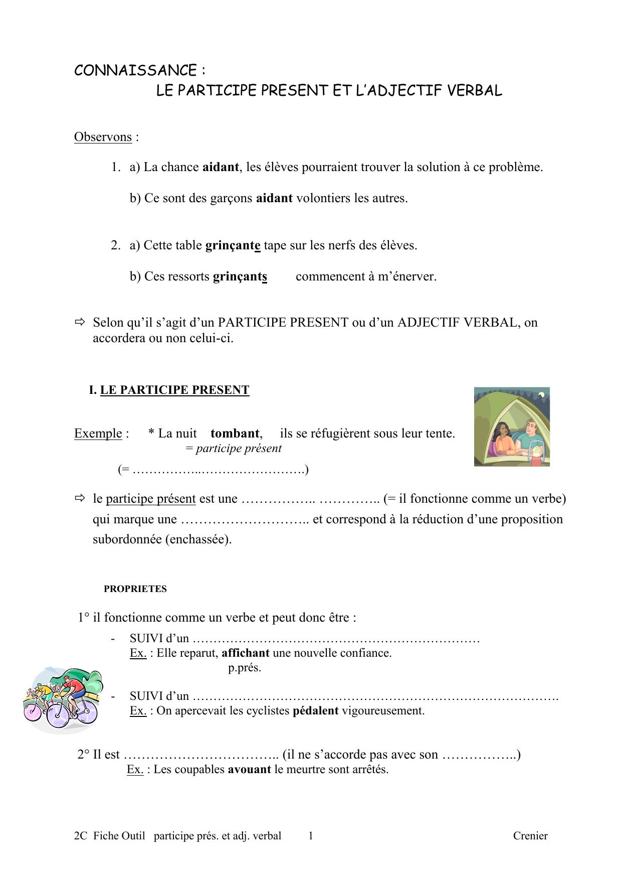 Le Participe Present Et L Adjectif Verbal