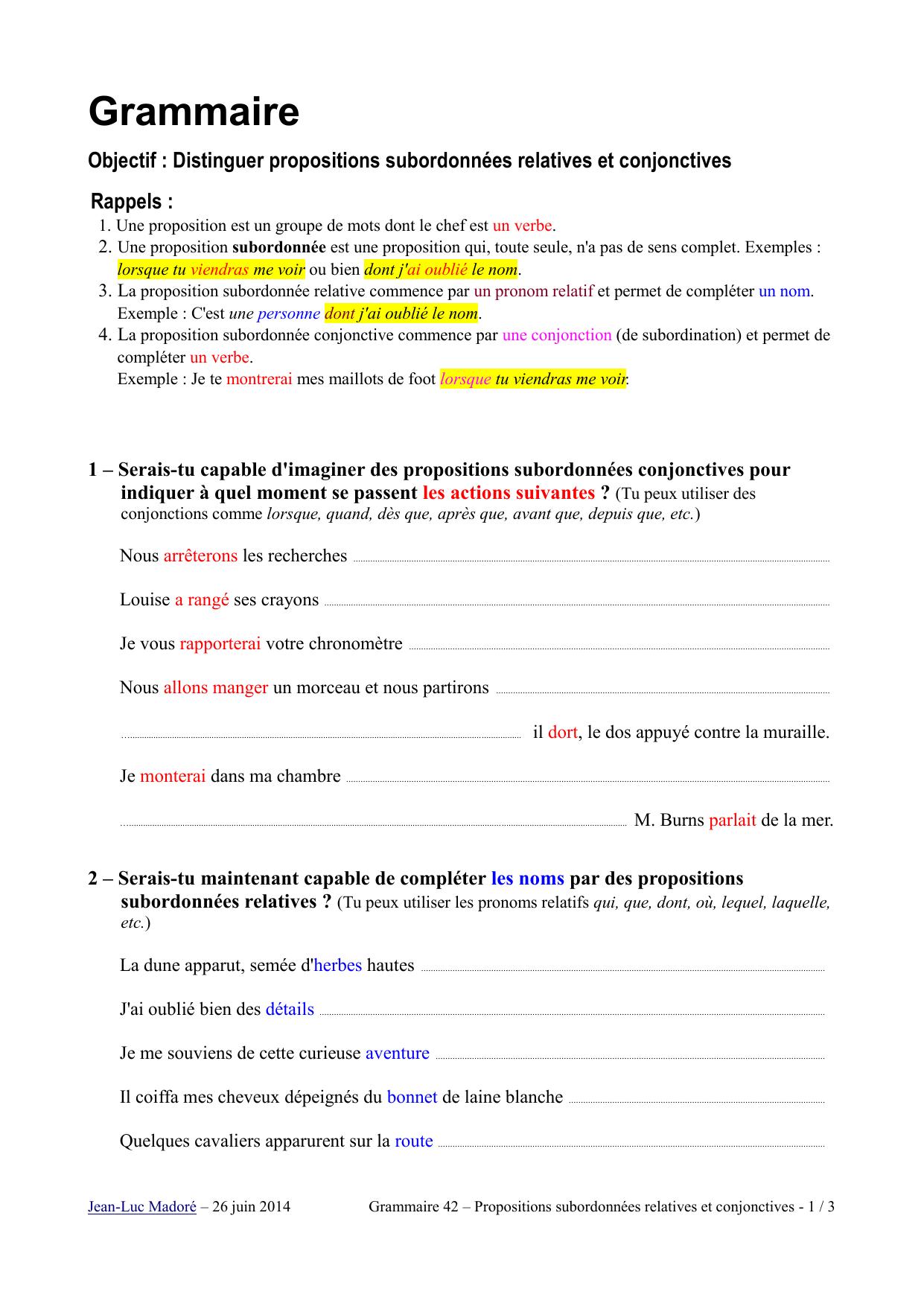 Distinguer Les Propositions Subordonnees Relatives Des Propositions