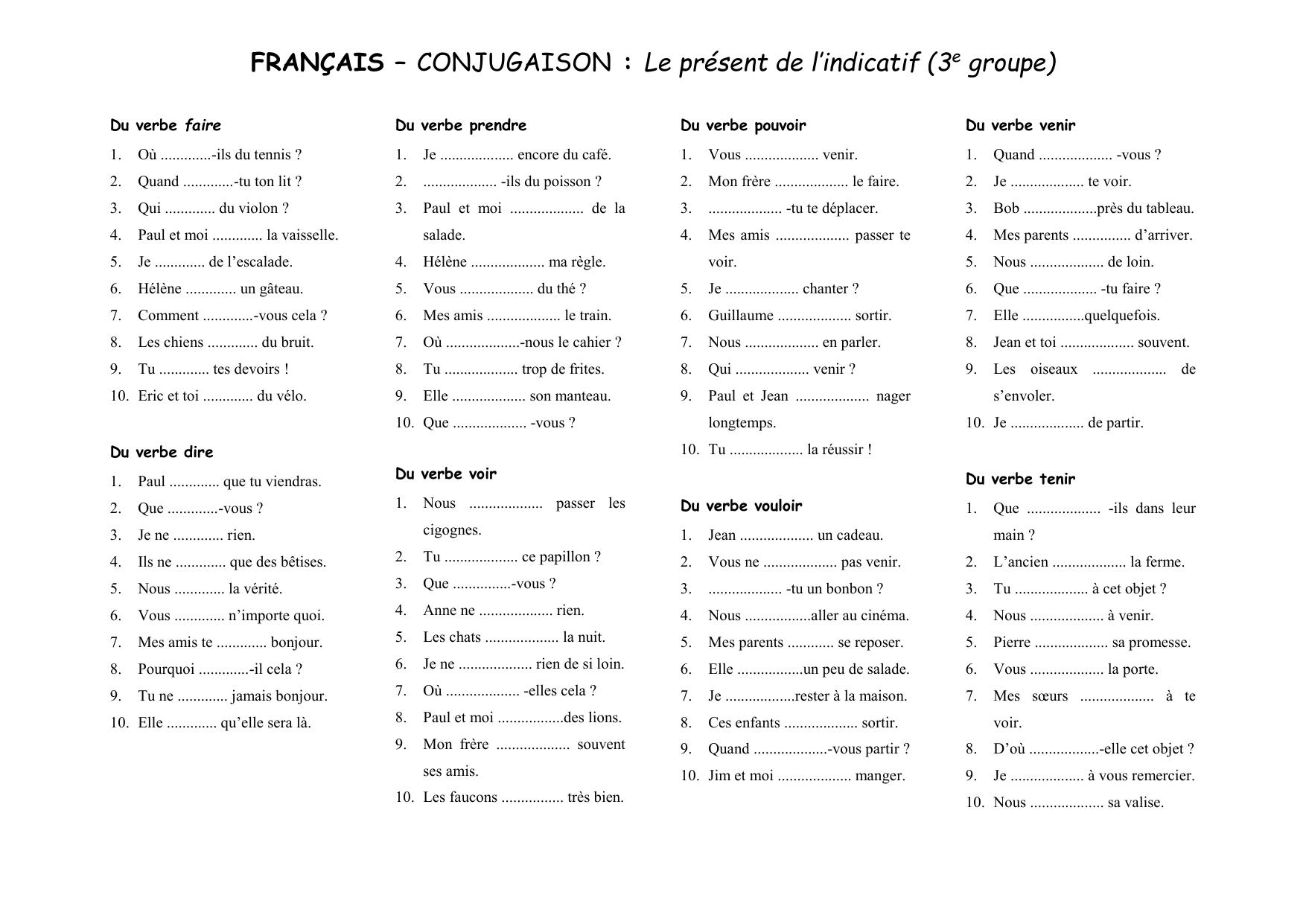Francais Conjugaison Le Present De L Indicatif 3e Groupe