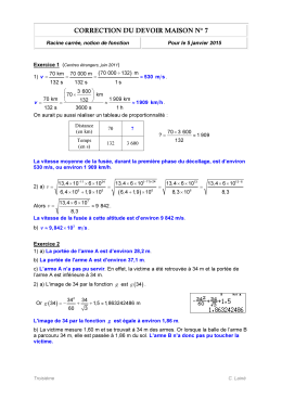 CORRECTION DU DEVOIR MAISON N° 7 ( )