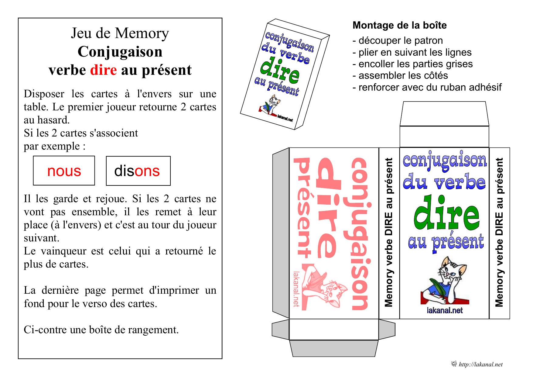Jeu De Memory Conjugaison Verbe Dire Au Present