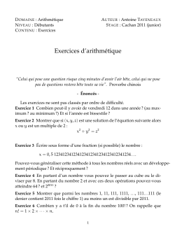 Exercices d`arithmétique