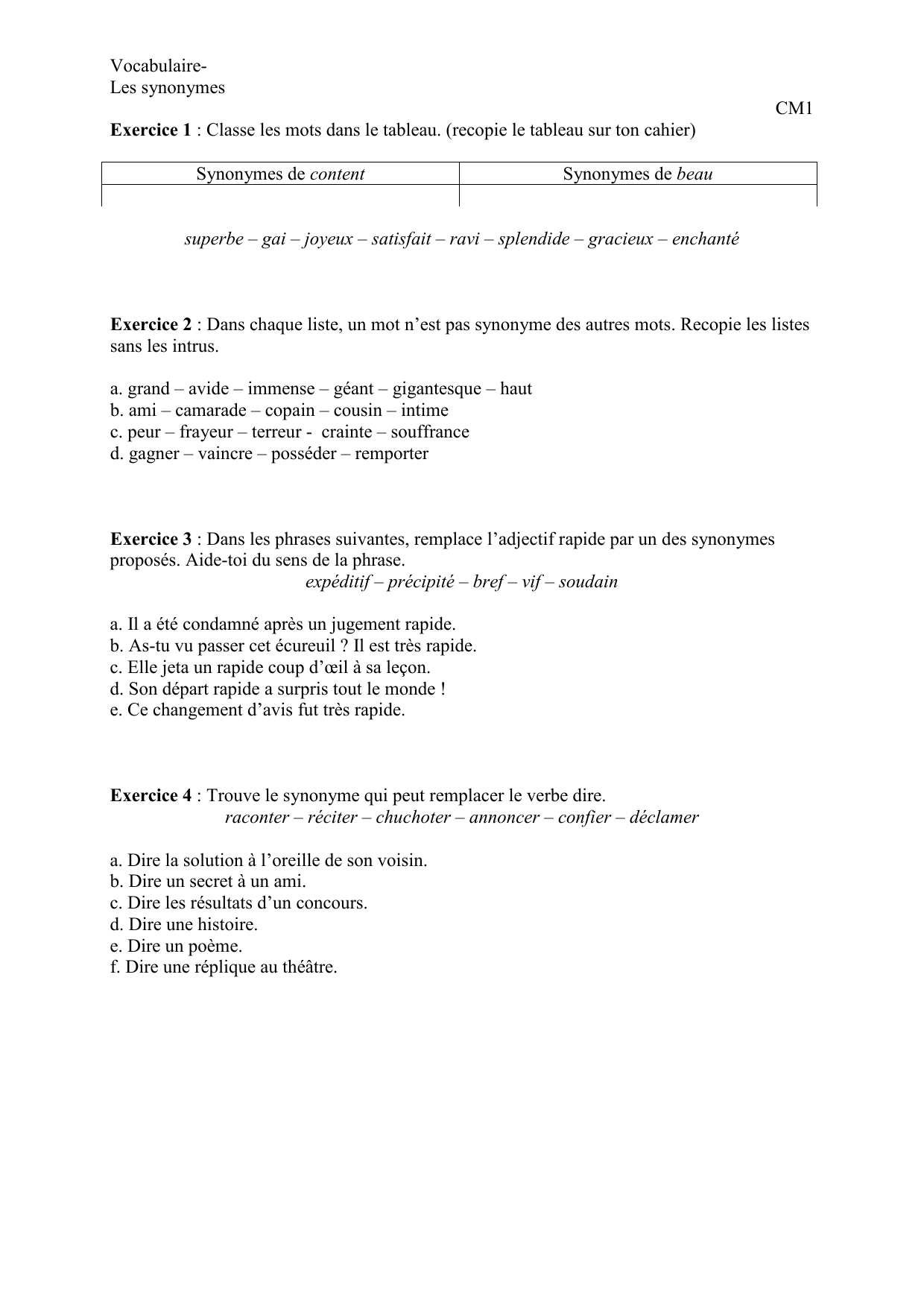 Les Synonymes Exercices