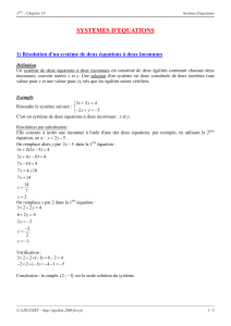 systemes d`equations