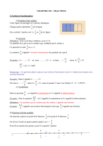 CHAPITRE XII : FRACTIONS