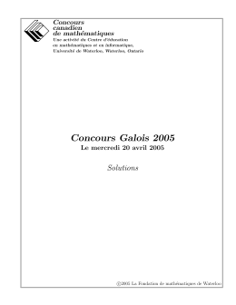 Concours Galois 2005