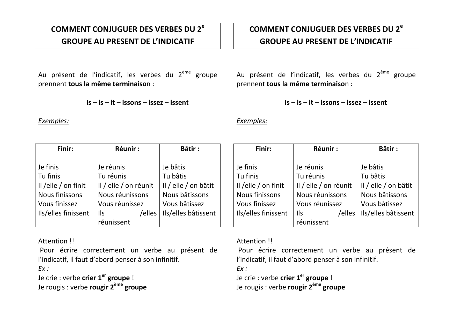 C5 Comment Conjuguer Les Verbes Du 2eme Groupe Au Present