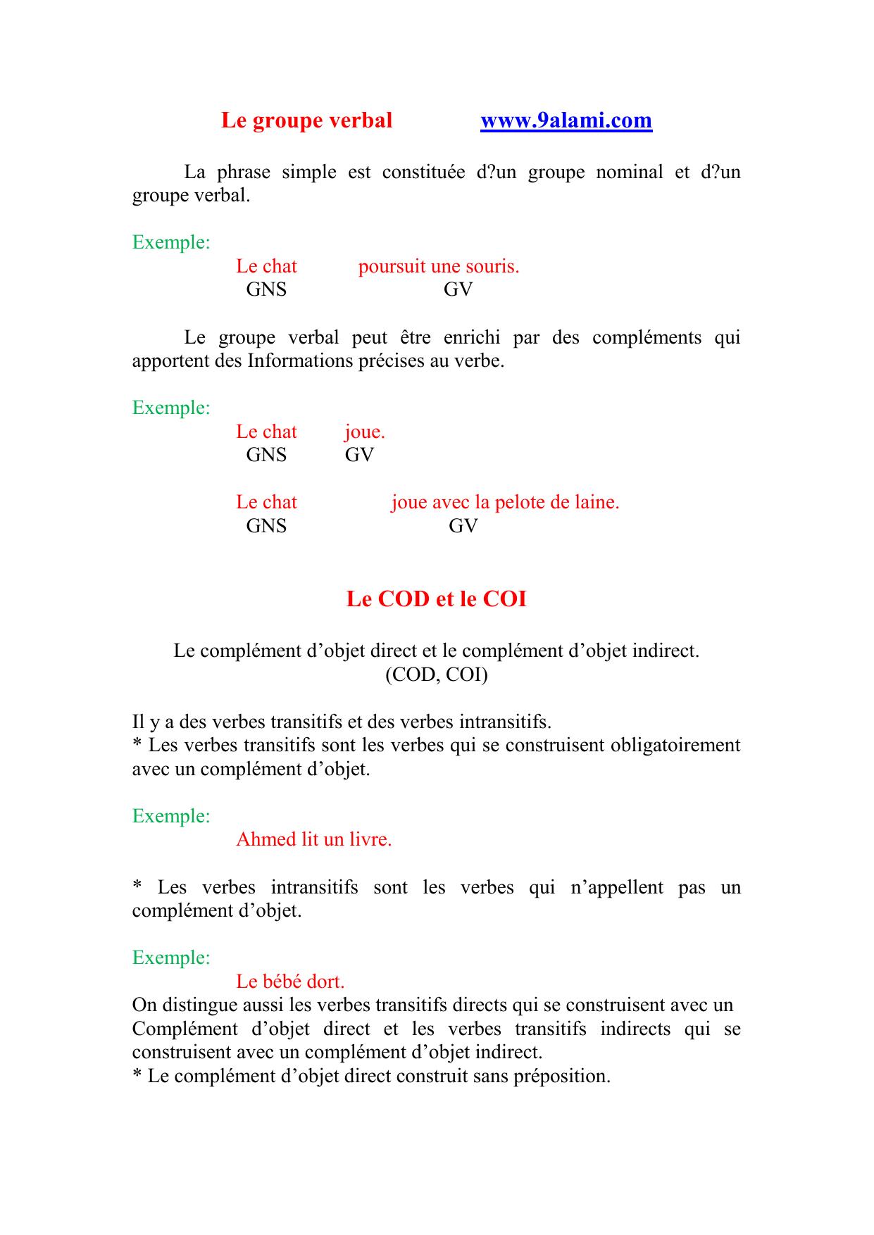 Le groupe verbal www.9alami.com Le COD et le COI