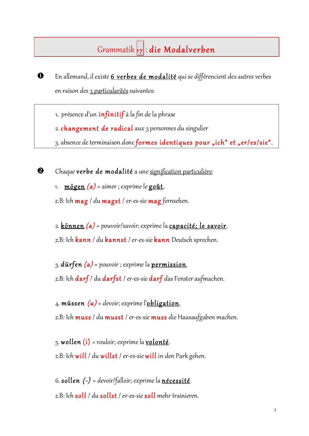 Grammatik 17 Die Modalverben