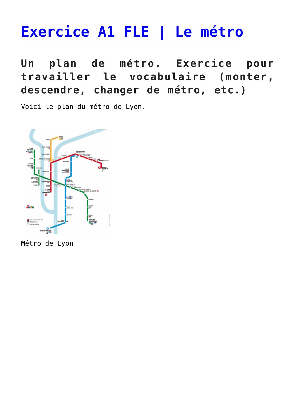 Exercice A1 Fle Le Metro Exercice A1 Francais Pouvoir Et Vouloir