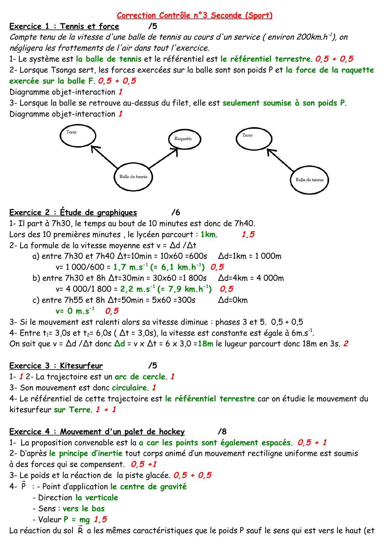 Correction Contrôle n°3 Seconde (Sport) Exercice 1 ...