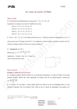 Exercices – Calcul littéral