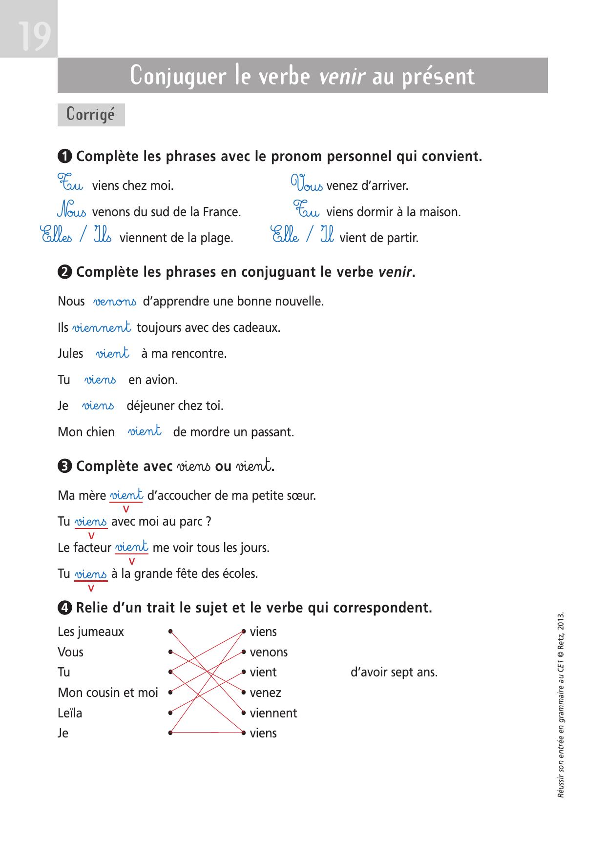 Conjuguer Le Verbe Venir Au Present