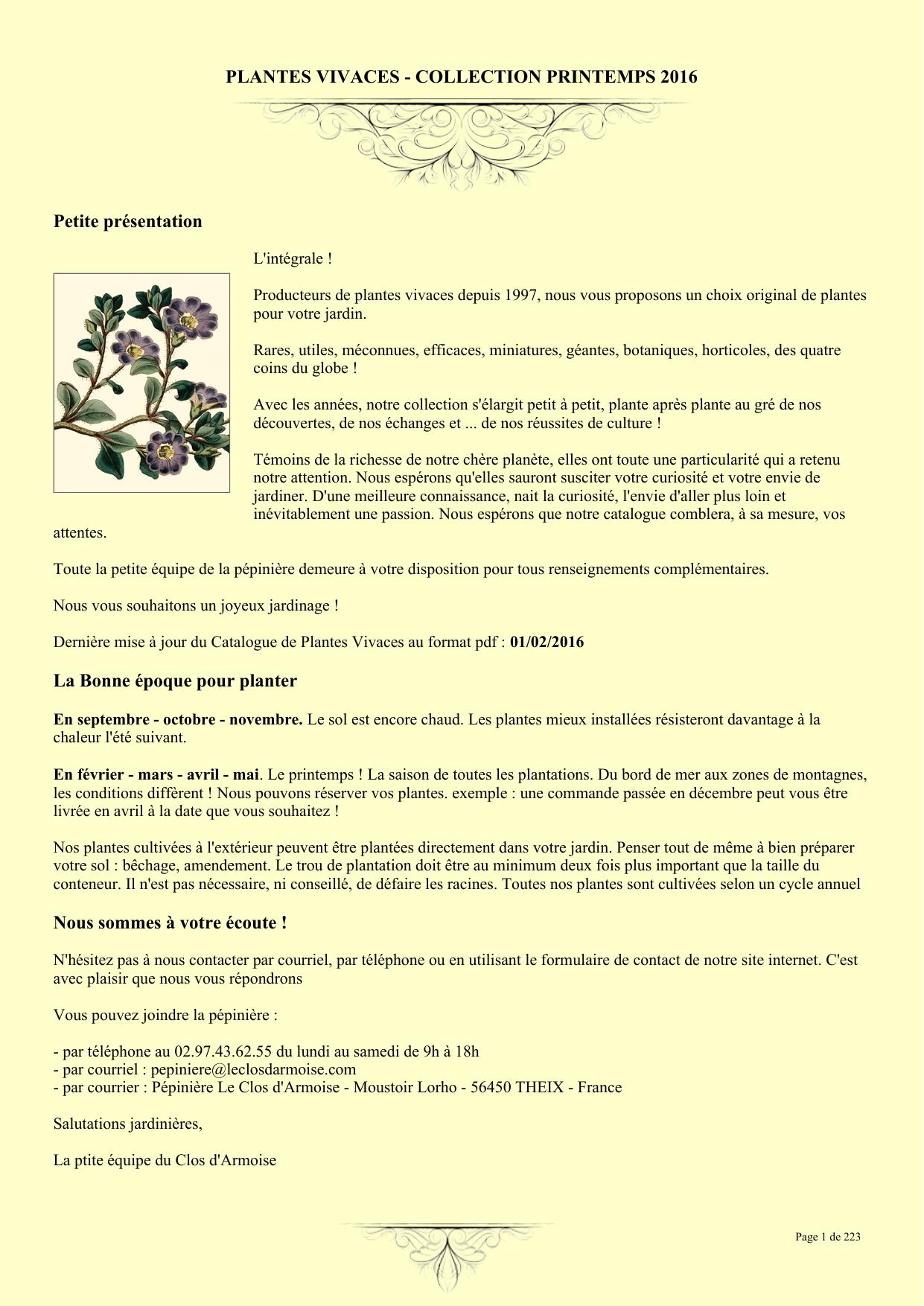 Plante A Planter En Septembre plantes vivaces - collection