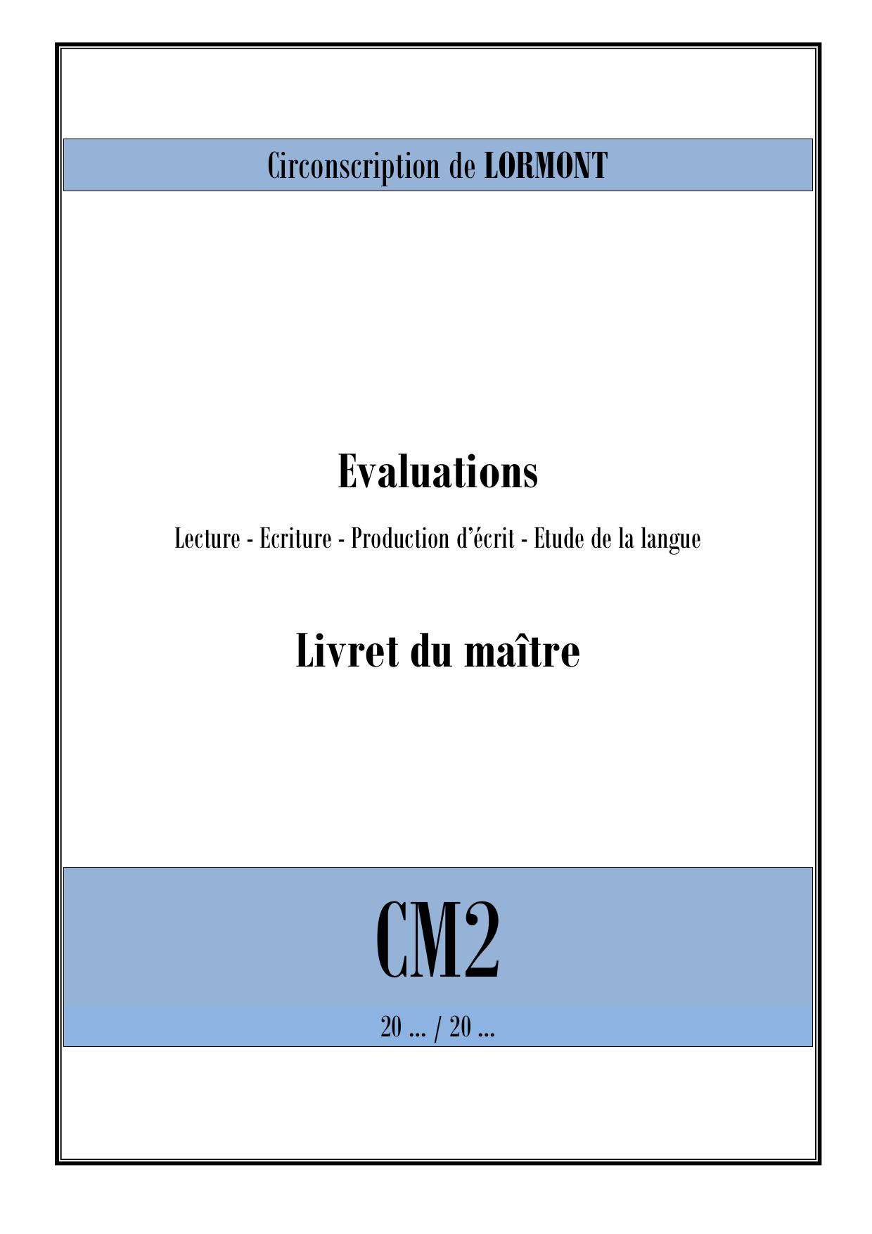 Livret Maitre Debut Cm2 Francais Format Pdf