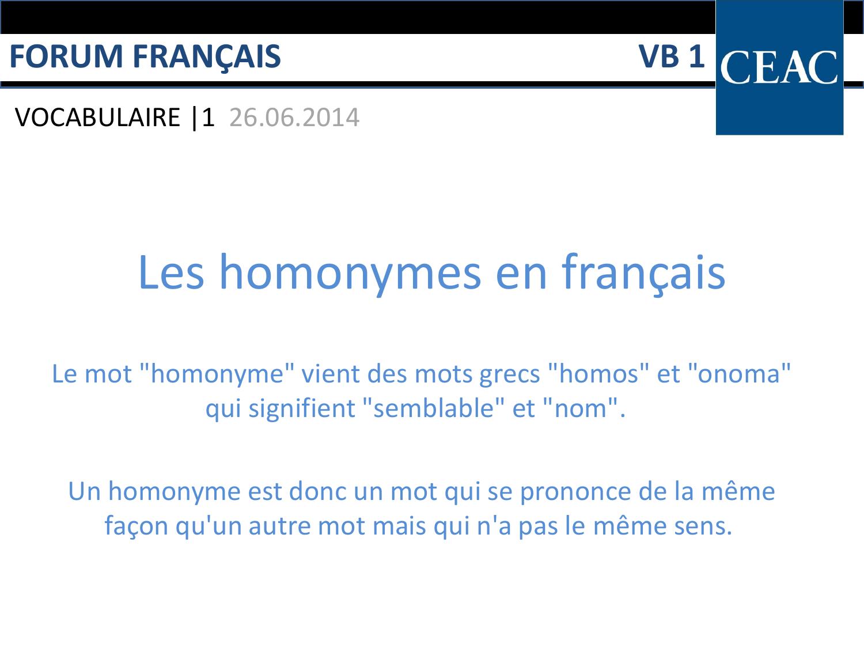 Les homonymes en français