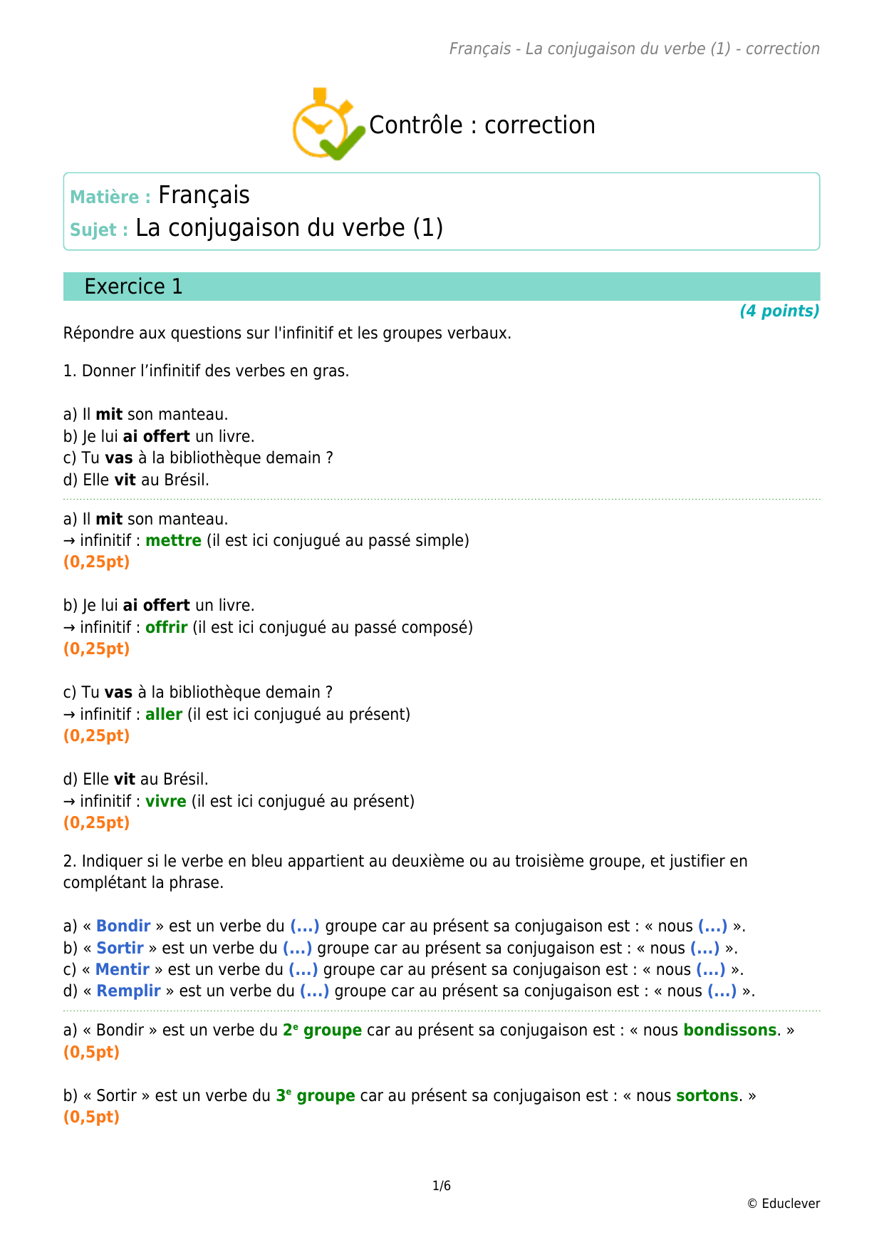 Controle Correction Sujet La Conjugaison Du