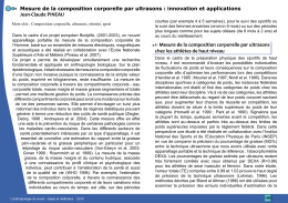 Mesure de la composition corporelle par ultrasons : innovation et