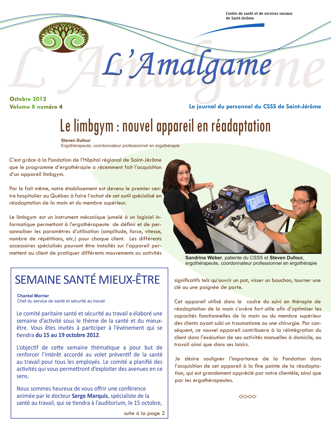 Clsc St Jerome Carte Assurance Maladie.Vol 8 No 4 Edition Octobre 2012 Csss De Saint
