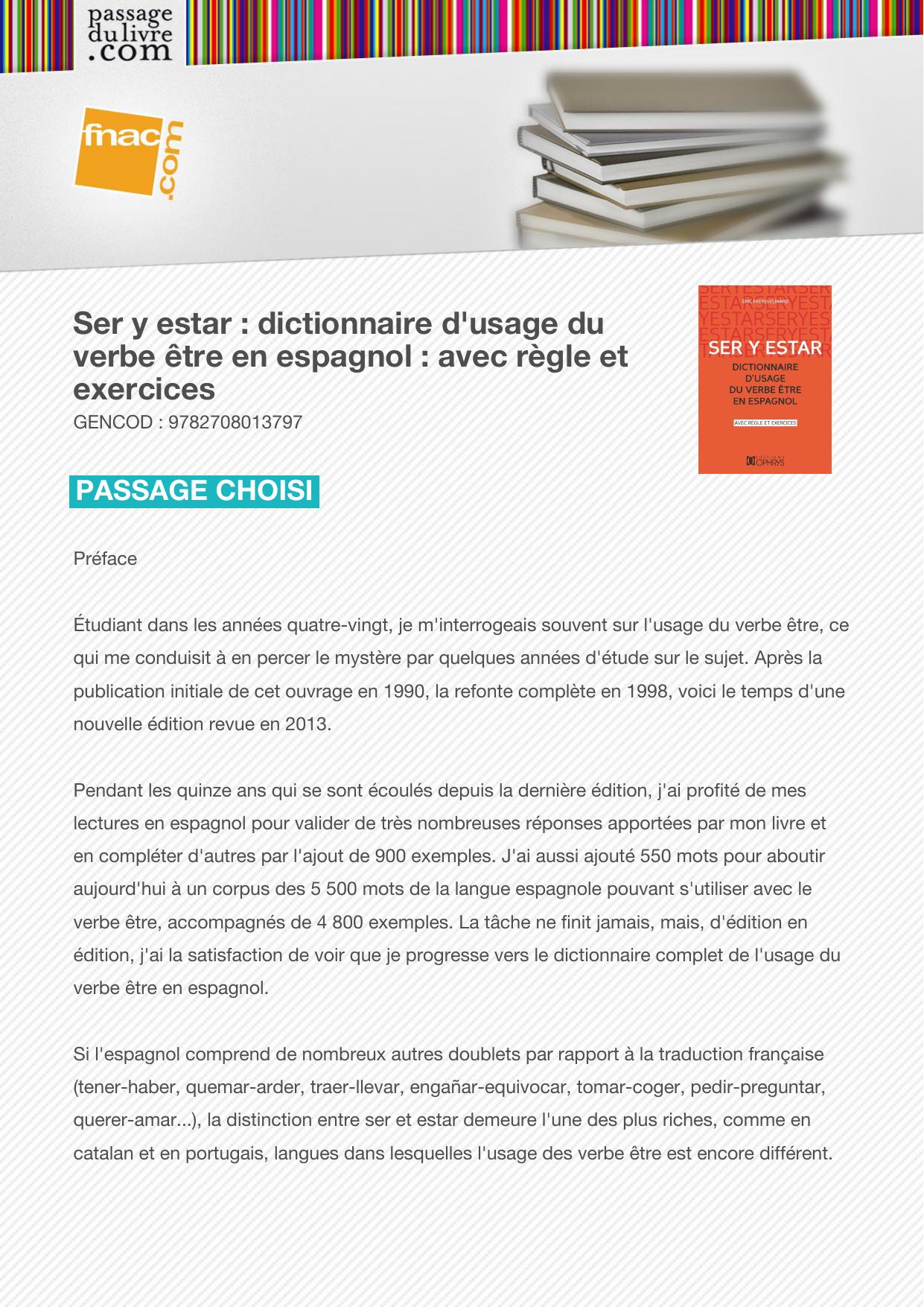 Ser Y Estar Dictionnaire D Usage Du Verbe Etre En