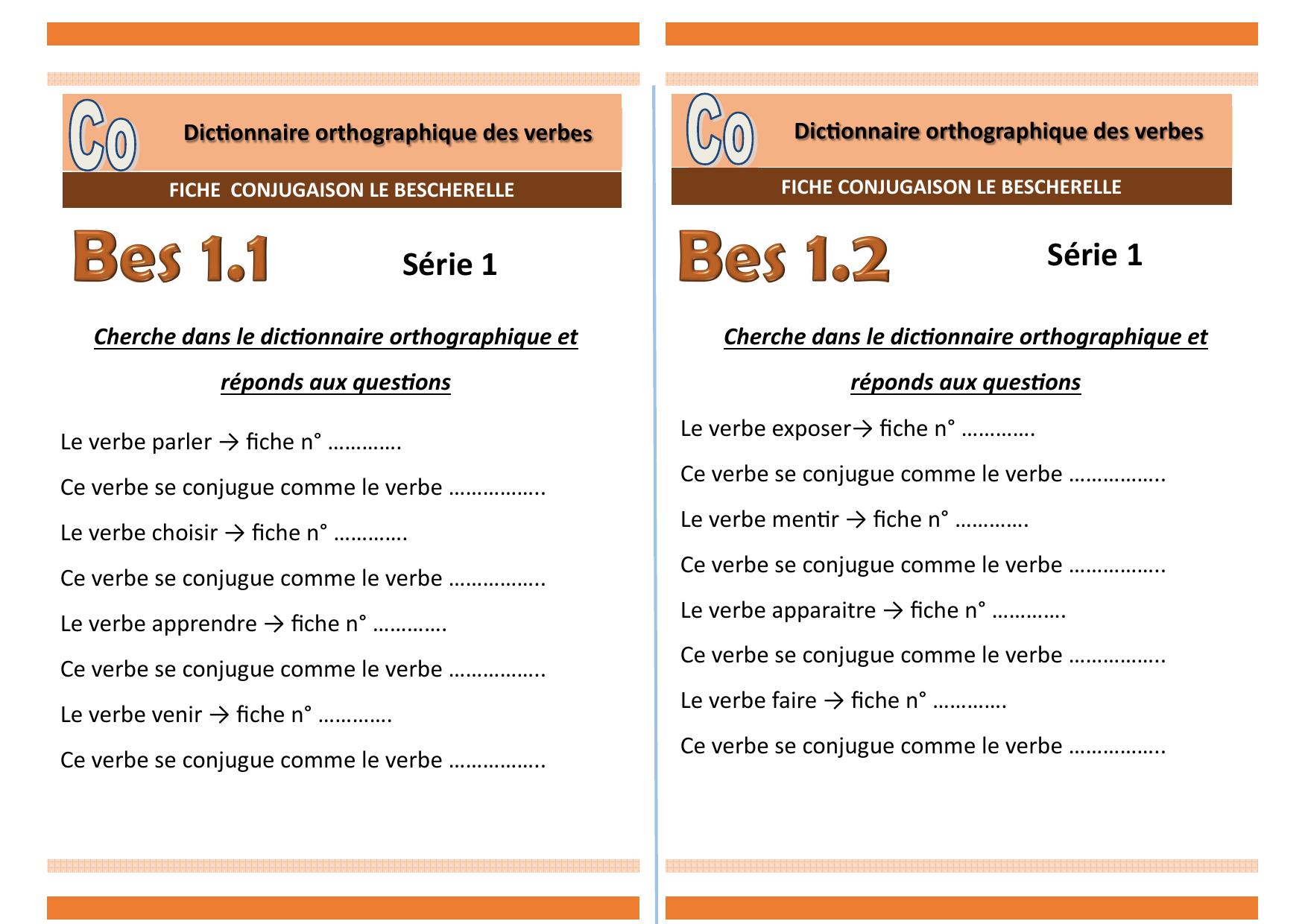 Fichier Serie 1 Bescherelle Dictionnaire