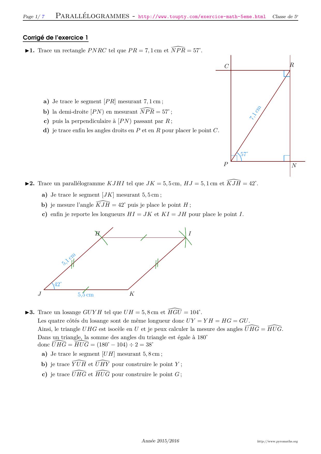 Exercices Math 5eme Crees Par Pyromaths Un Logiciel Libre En