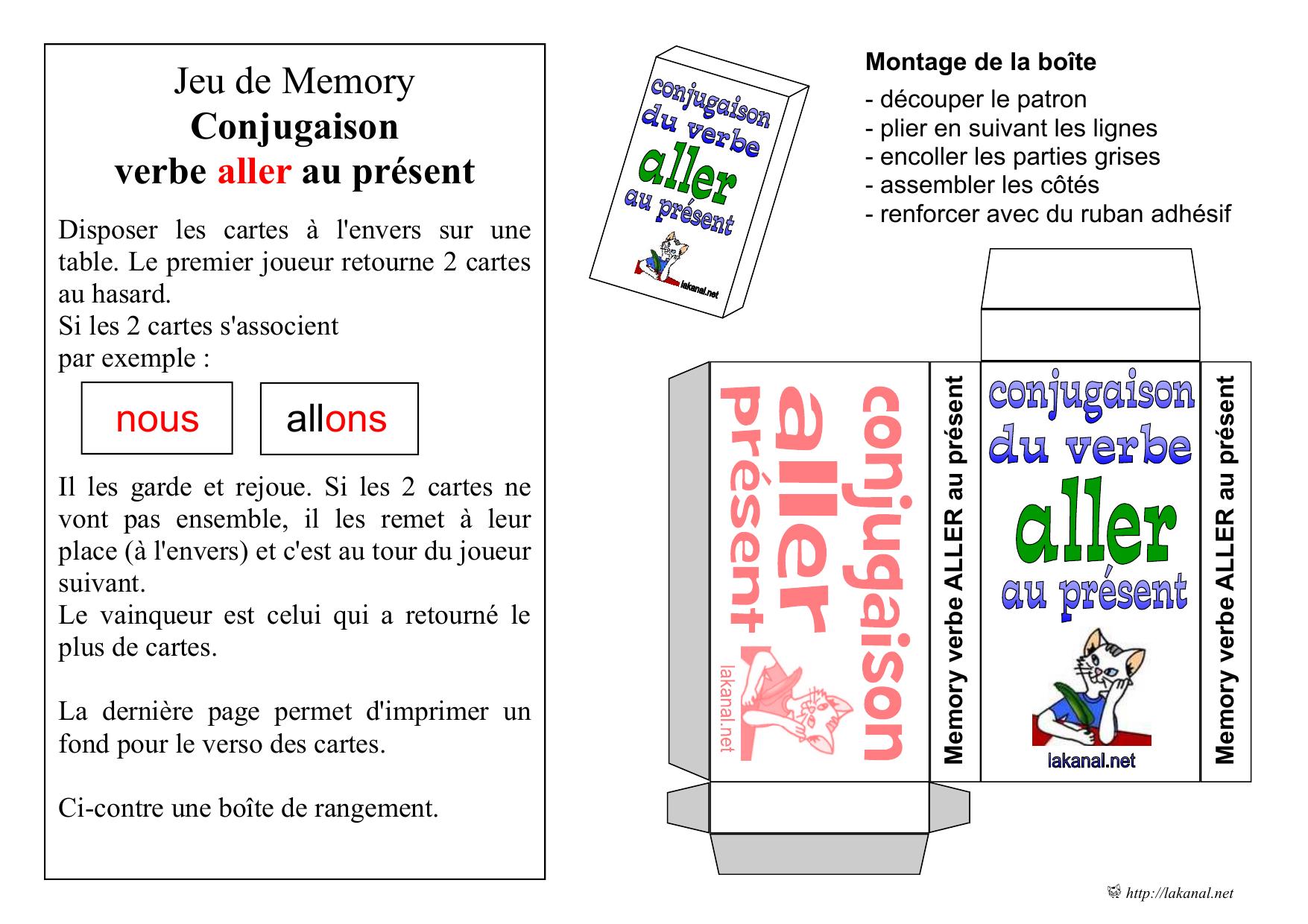 Jeu De Memory Conjugaison Verbe Aller Au Present