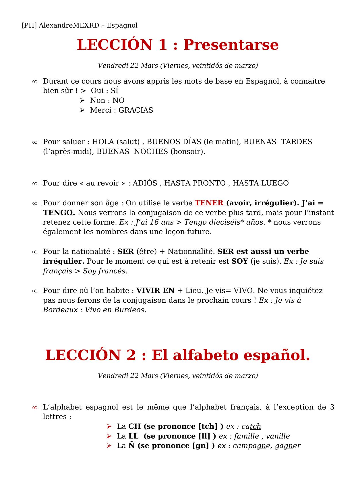 Leccion 1 Presentarse Leccion 2 El Alfabeto Espanol