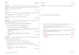 PCSI 1 Exercices : Matrices Page1 Exercice 1 Dans IR3 , déterminer
