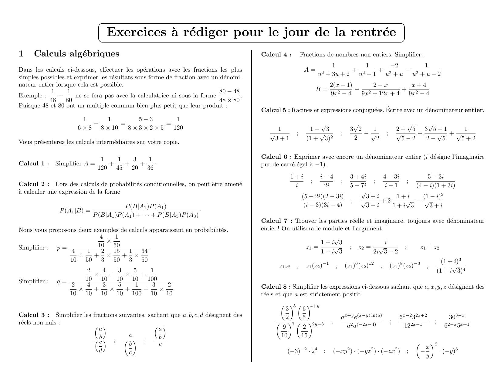 exercices mathématiques mpsi pcsi 2016