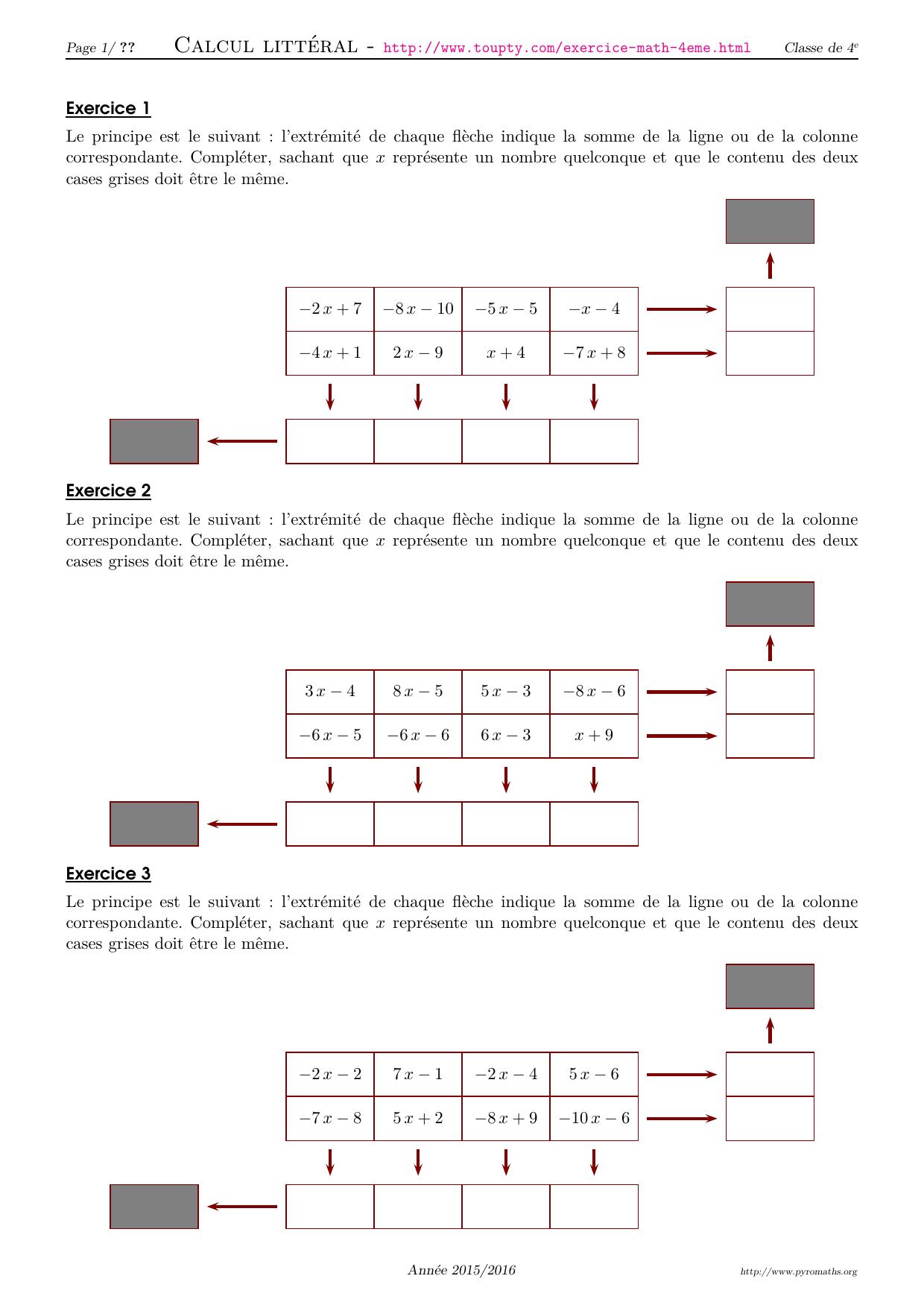 Exercices Math 4eme Crees Par Pyromaths Un Logiciel Libre En